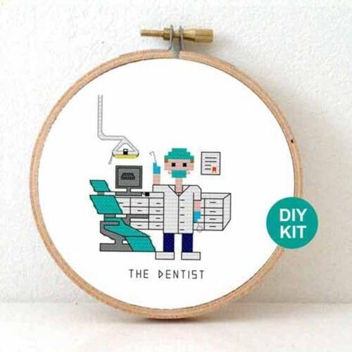 stitchajob male dentist cross stitch kit