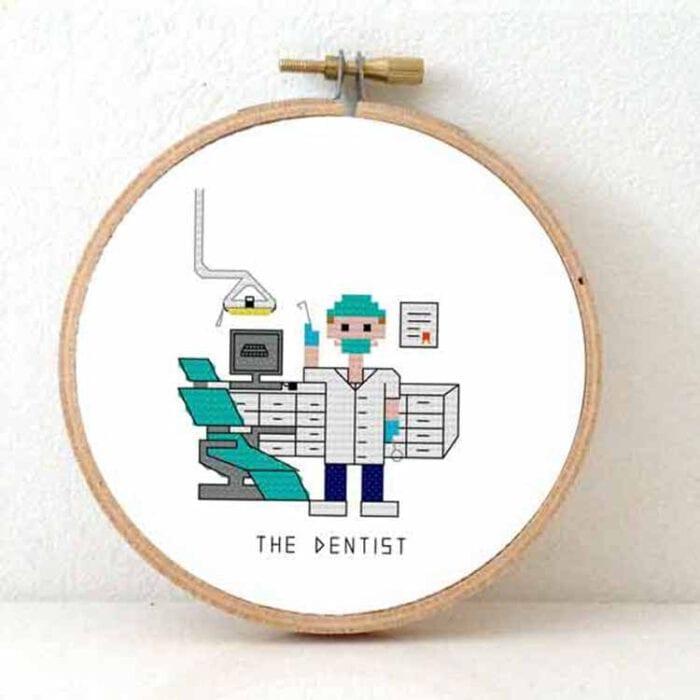 stitchajob male dentist cross stitch pattern