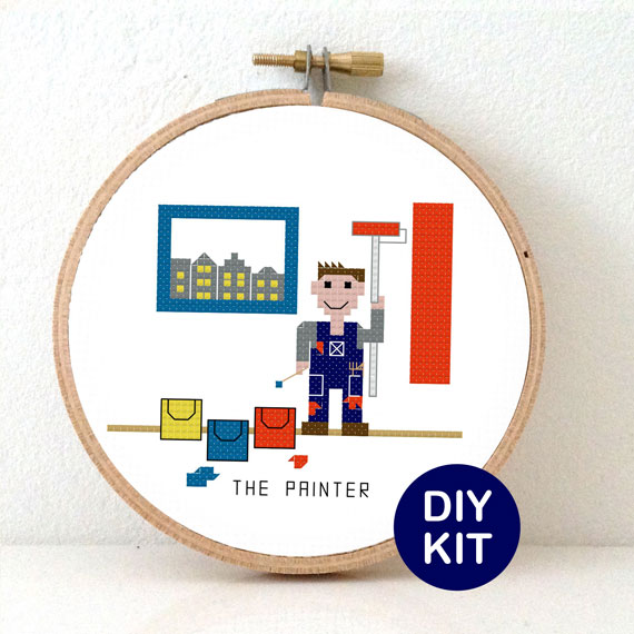gift for male painter cross stitch kit