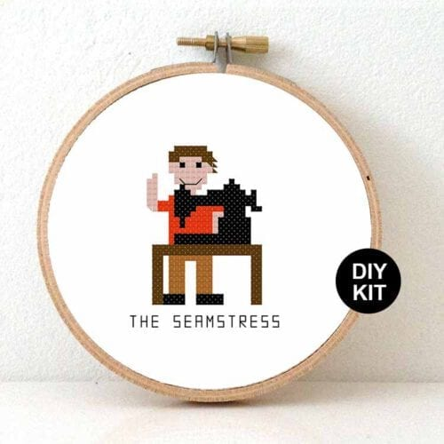 stitchajob - male seamstress cross stitch kit