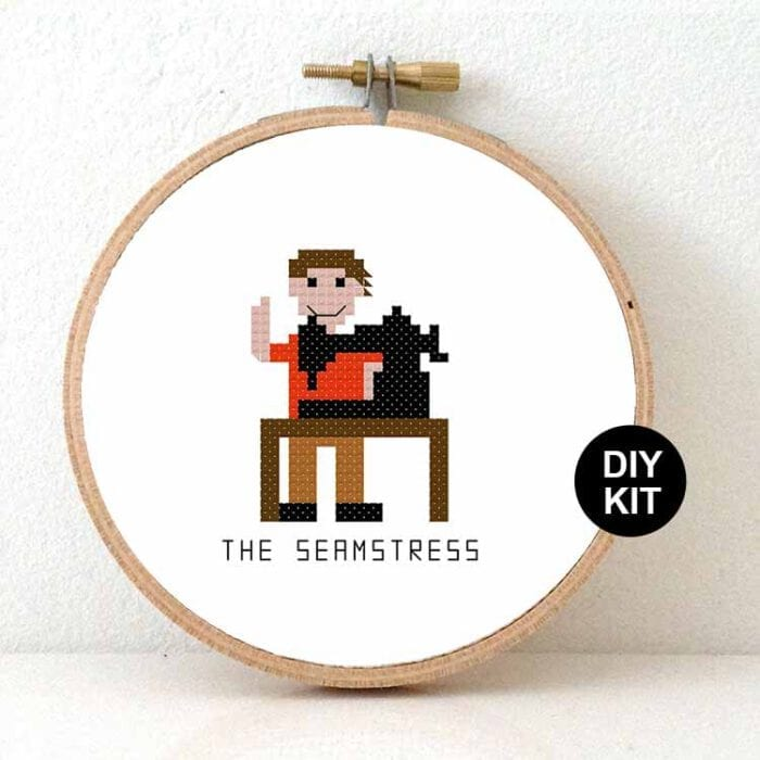 stitchajob - male seamstress cross stitch kit