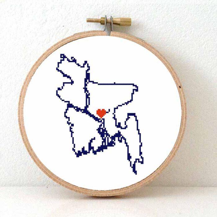 stitchamap Bangladesh cross stitch pattern