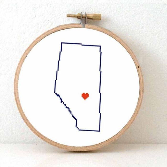 alberta map cross stitch pattern