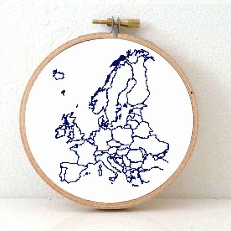 stitchamap - continent xl europe map cross stitch pattern