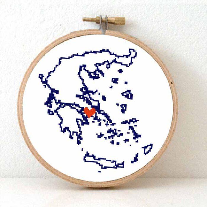 stitchamap Greece cross stitch pattern
