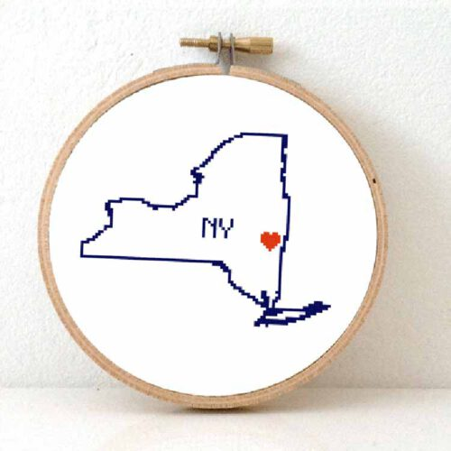 stitchamap - new york state map cross stitch pattern
