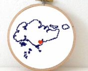 Stitchamap - Singapore map cross stitch pattern