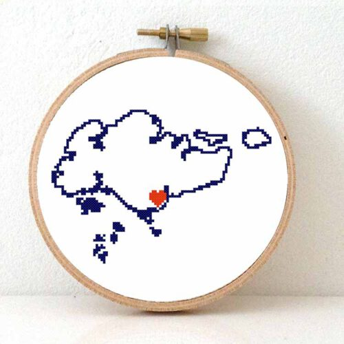 Stitchamap - Singapore map cross stitch pattern