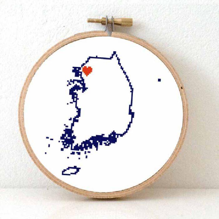 stitchamap - south korea map cross stitch pattern