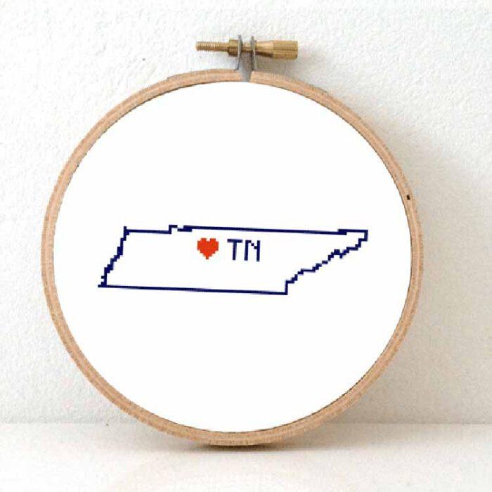 stitchamap - Tennessee map cross stitch pattern