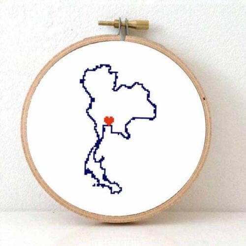 stitchamap - Thailand map cross stitch pattern