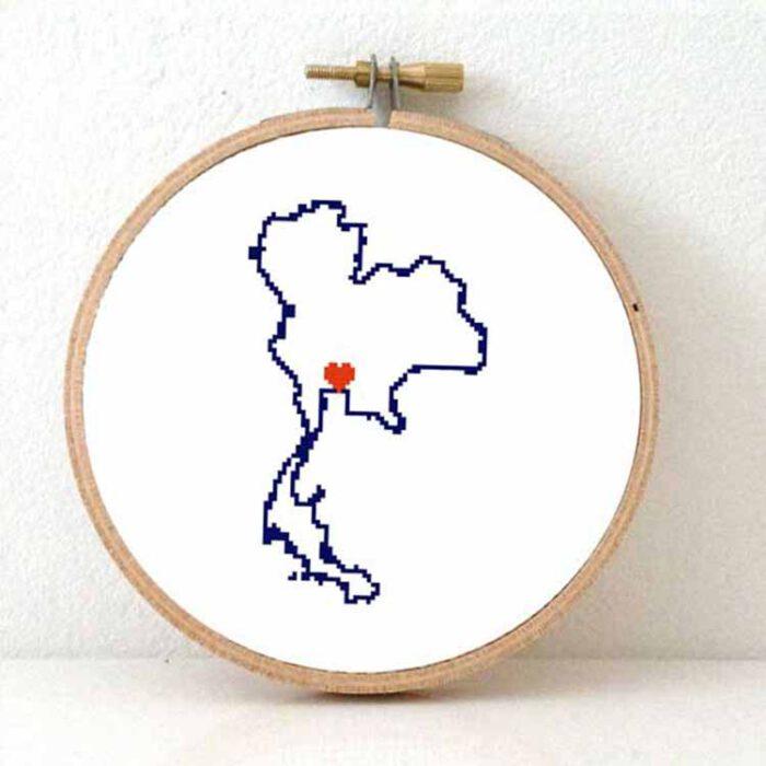stitchamap - Thailand map cross stitch pattern
