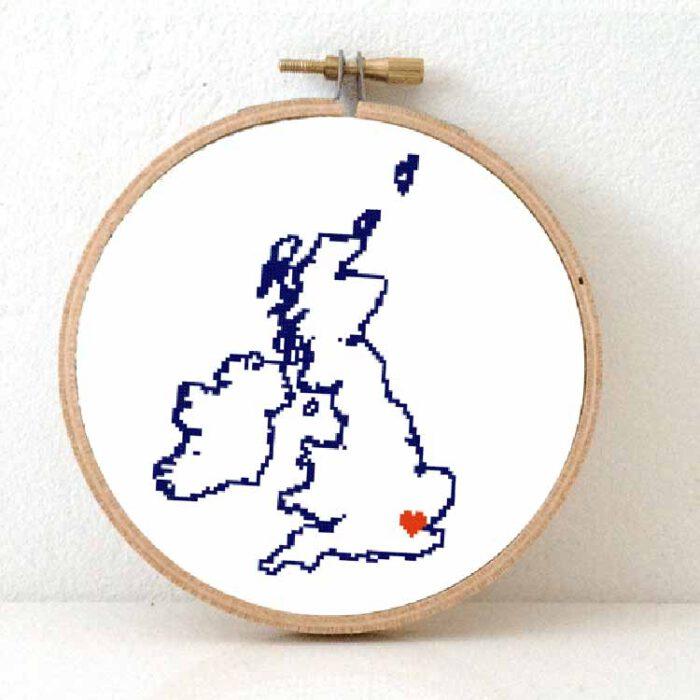 stitchamap uk - united kingdom cross stitch pattern map