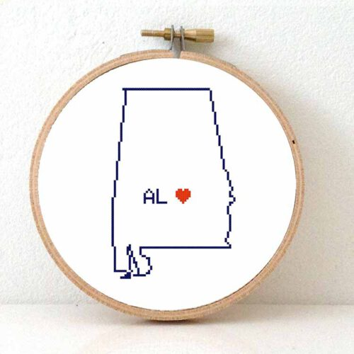 stitchamap - usa - alabama map cross stitch pattern