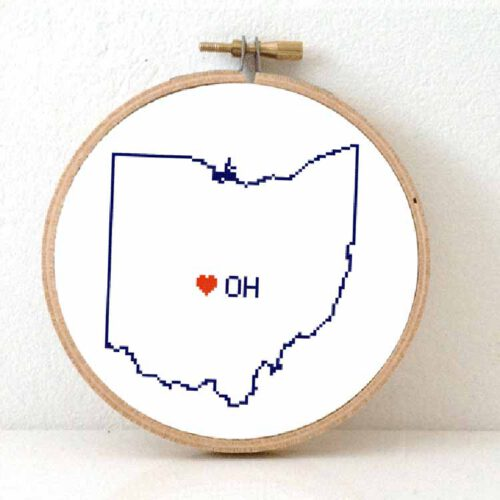 stitchamap - usa - ohio cross stitch pattern