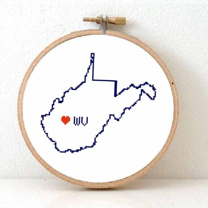 stitchamap - usa - west virginia map cross stitch pattern