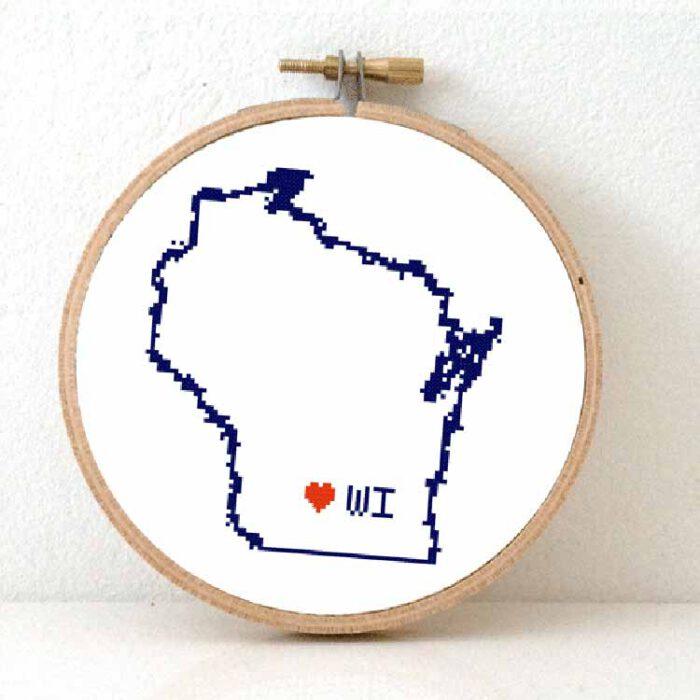 Stitchamap - USA - Wisconsin map cross stitch pattern