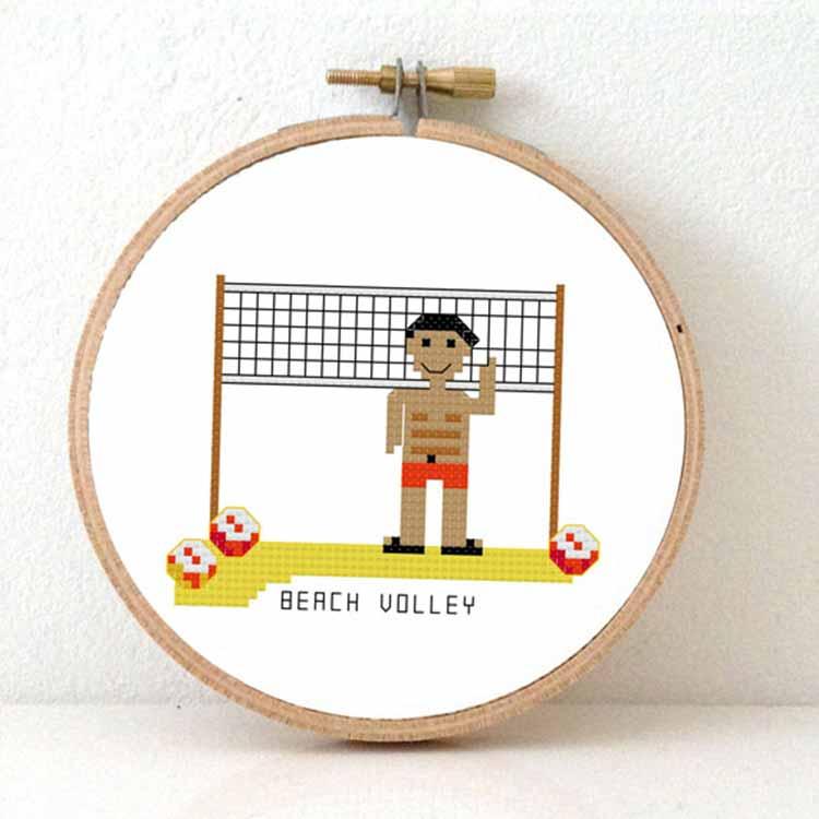 stitchasport - male beach volley cross stitch pattern