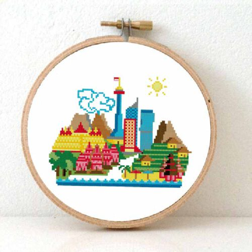 Sunny Modern Indonesia cross stitch pattern