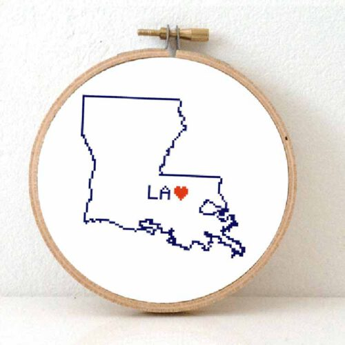 usa states - louisiana cross stitch pattern
