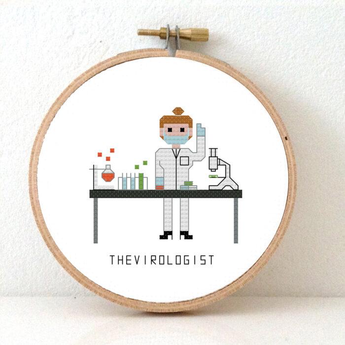 gift for female virologist cross stitch pattern