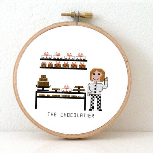 stitchajob female chocolatier cross stitch pattern