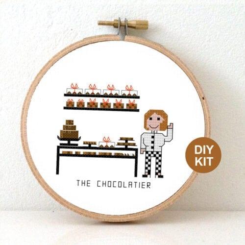 stitchajob female chocolatier cross stitch kit
