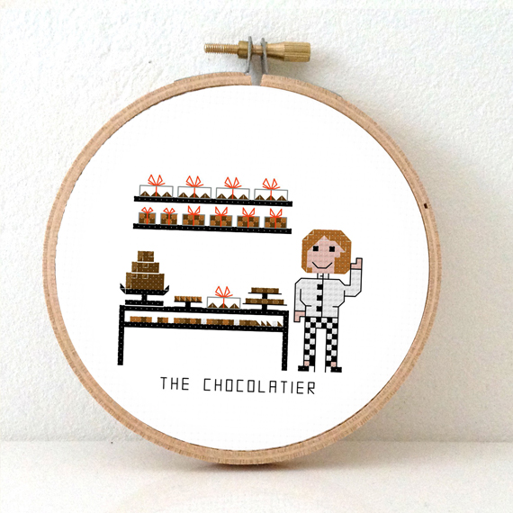 stitchajob female chocolatier cross stitch pattern
