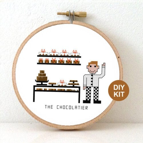 stitchajob male chocolatier cross stitch kit