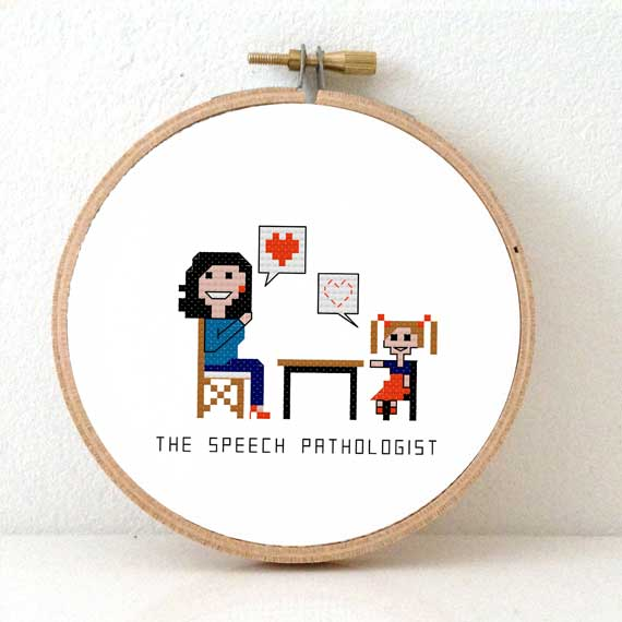gift for female speech therapist cross stitch pattern