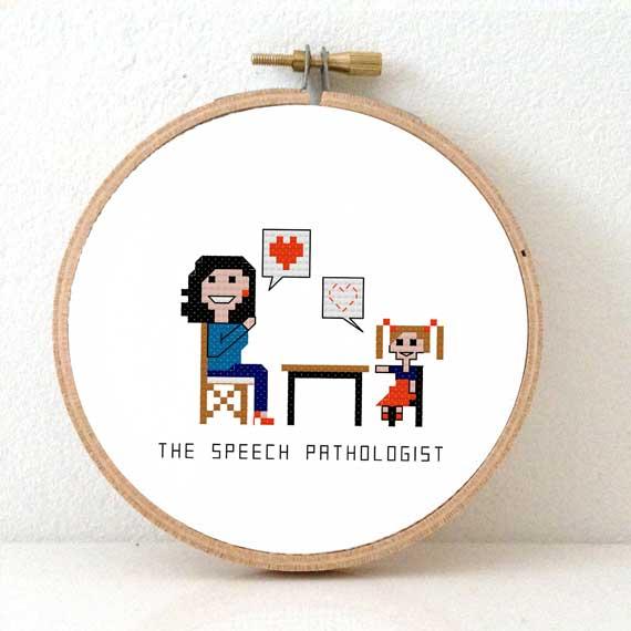gift for female speech therapist cross stitch pattern