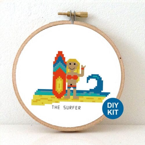 summer cross stitch kit female surfer