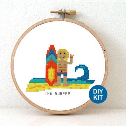 male surfer cross stitch pattern beach themed cross stitch kit