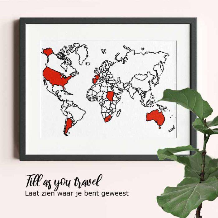 xxl world map cross stitch pattern fill as you travel