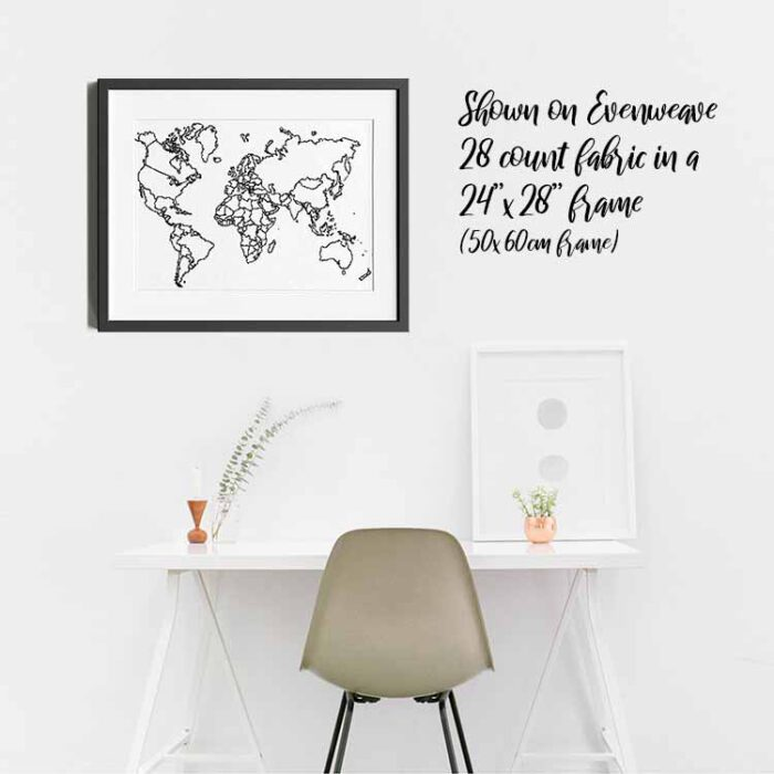 xxl world map on wall shown in evenweave 28 count fabric