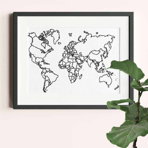 xxl world map cross stitch pattern