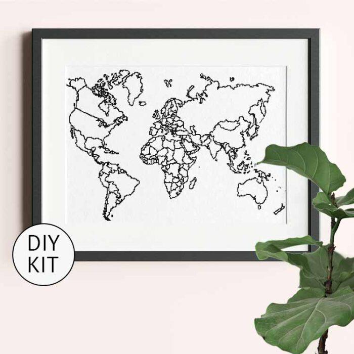 xl world map cross stitch kit black white